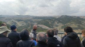 Tour for the international board of the New Israel Fund - View from the East on E1 and East Jerusalem